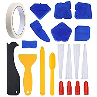 Sntieecr 20 Pieces Caulking Tool Kit Silicone Sealant Finishing Tool Included Masking Tape Grout Scraper Caulk Remover Caulk Nozzle and Caulk Caps