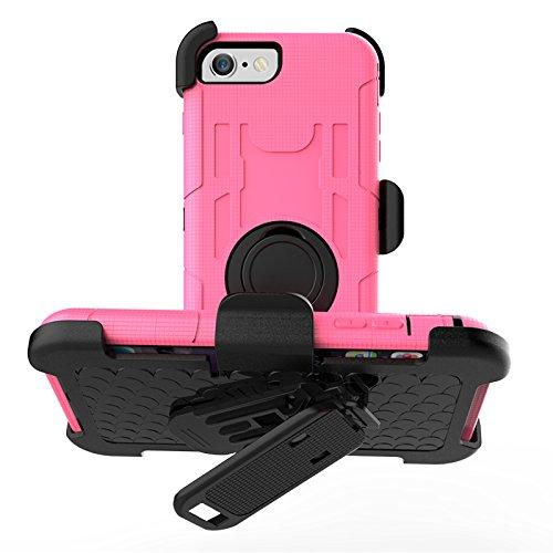 iPhone 7 Belt Clip Hülle, Heavy Duty 4 Layers Harte Rüstung Anti-Kratzer PU Silikon Handyhülle mit Ring Ständer / Kickstand Stoßfest Etui Shockproof Case Cover Kompletter Schutz Tasche Schutzhülle für Rosa