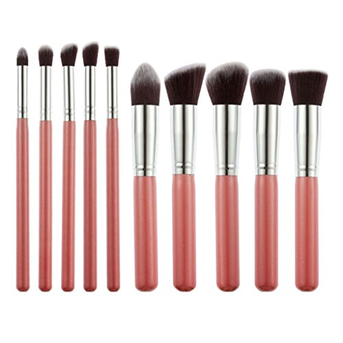 Electomania™ Foundation, Eyeshadow Makeup Brush, Pink, Set of 10