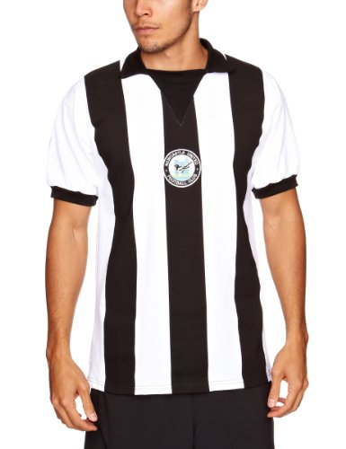 Score Draw Retro Herren Fussball Newcastle United 1976 Shirt Trikot Kurzarm - S (Vintage-college-fußball-trikots)