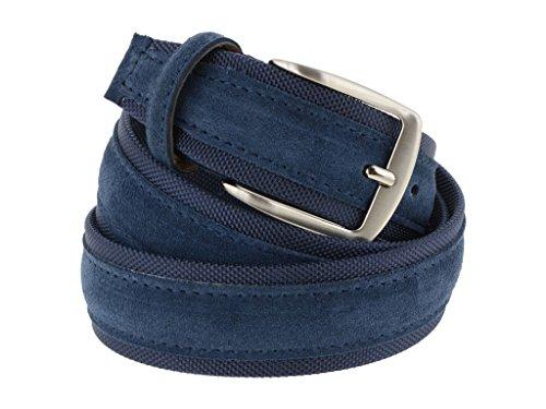 Cintura tela e camoscio uomo blu 4 cm in vera pelle artigianale made in Italy (110 cm (42/44 - 44/46 EU))