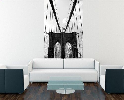 Bilderdepot24 Papier Peint intissé Brooklyn Bridge - New York 65x100 cm - pâte Inclus - Vente directe Fabricant!