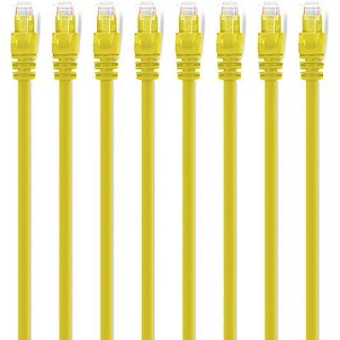 GearIT Cat5e Cable de conexión Ethernet–Cable de red LAN para computadora amarillo 0.45m (8-Pack)