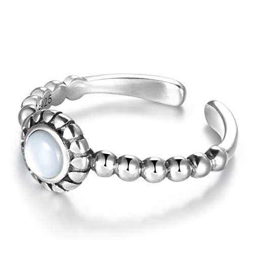 SNORSO Anillo de plata de ley con piedra lunar redonda solitario ajustable para mujer