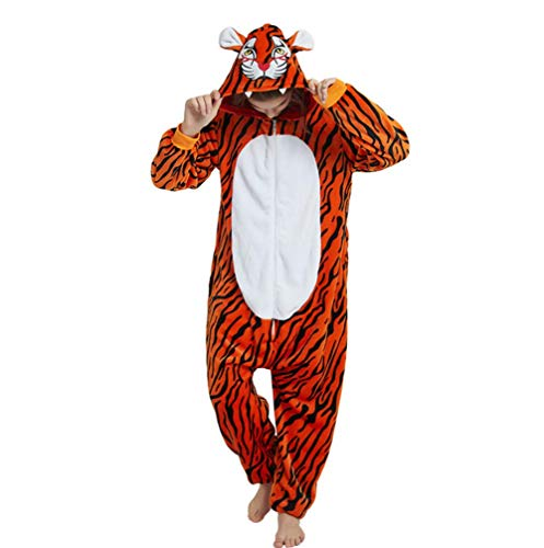 Sweetheart -LMM donna uomo tuta Halloween Unicorn Onesie costume pigiama di flanella, super morbido Kigurumi Animal Cosplay vestaglia invernale per unisex adulto e teenager, Tiger, small