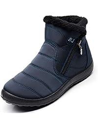 0a216c135 Mujer Botas de Nieve Hombre Zapatos Invierno Impermeables Piel Forradas  Calientes Planas Antideslizante Botines