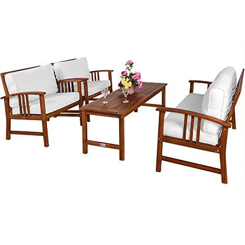 Deuba Conjunto de jardín Lounge ATLAS de madera de acacia con cojínes lavables crema 1 mesa 2 sillas...
