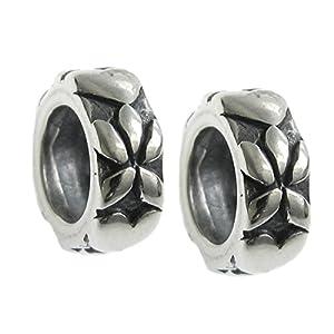 Queenberry Abstandhalter für Charm-Armbänder, Sterling Silber, Unendlichkeits-, Liebes- und Blumenmotive, für Pandora/Troll/Europäische Charm-Armbänder, 2 Stück