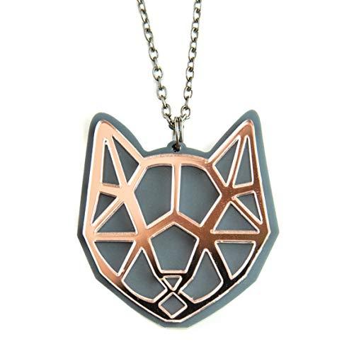 Halskette mit geometrischem Katzenkopf-Anhänger in Geschenkverpackung, Roségold, Crazy Cat Lady Black Cat Grey Cat