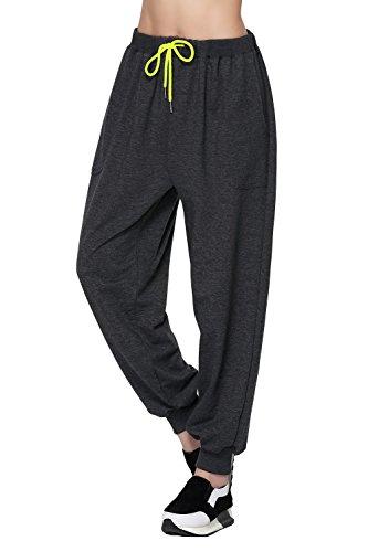 HonourSport-Pantalon Baggy Jogging Sarouel Haren Pantalon Couleur Uni Femme Gris Fondé