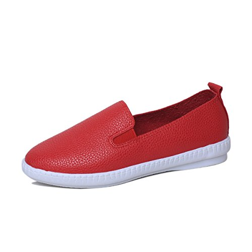 Aulei Damen Loafer Slipper Mokassins Korea-Stil 2016 Rot