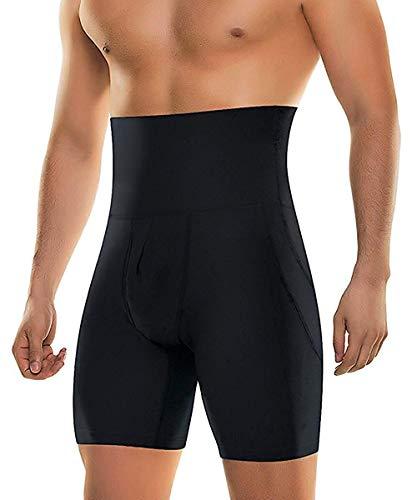 Gold-getönten Hardware (NonEcho Herren Body Shaper Bauch-Steuer Abnehmen Shapewear Shorts mit hoher Taille Bdomen Trimming -Boxer Stretch Pants Mittel Schwarz)