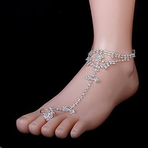 maltonyo17Toe anillo blanco Rhinestone Pulsera de tobillo tobillera para descalzo Sandalia playa novia boda (plata)