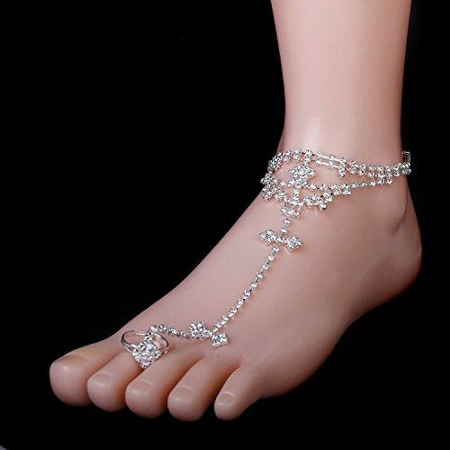 haahaha Silber Elegante Zehenring Strass Fußkettchen Armband für Barfuß Sandale Strand Brautschmuck Hochzeit