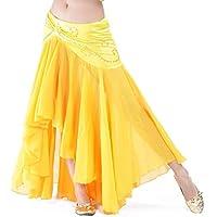 Calcifer - Falda de Gasa para Danza del Vientre, Vestido de Baile para Mujer (Amarillo)