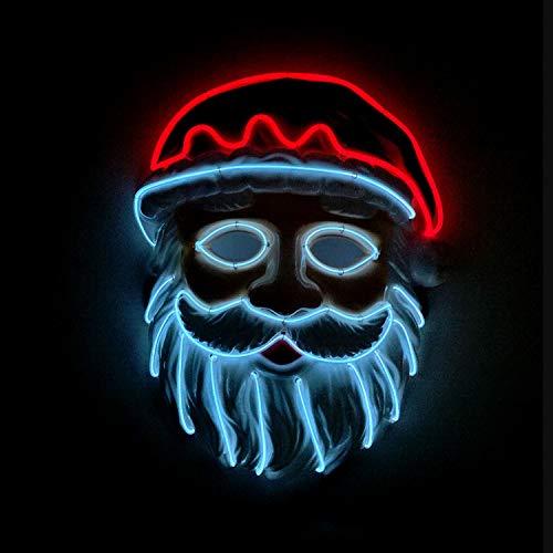 WSXX EL kaltes Licht, leuchtende Maske, Santa Maske, LED-Maskerade-Party, Flash-Maske, batteriebetrieben, mit Controller