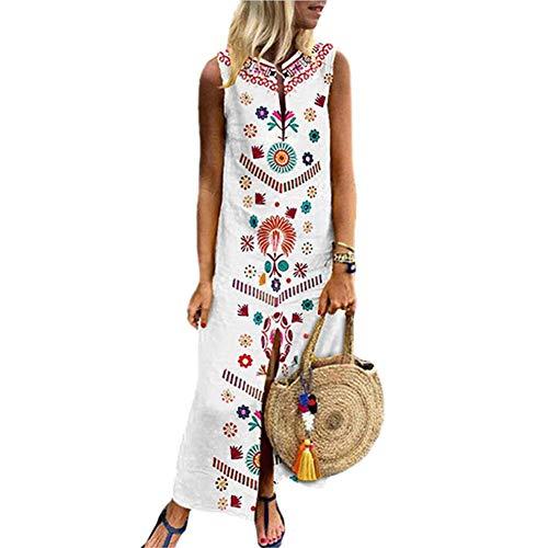 Strandkleider Damen Kleid Freizeit Bedrucktes ärmelloses Leichtes Gaze Maxikleid mit V-Ausschnitt und langem Saum und langem Kaftan-Kleid,S-5XL -