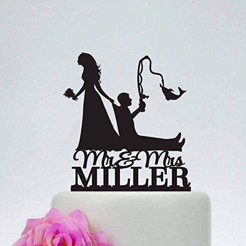 Personalisierte Rustikal Holz Hochzeit Angeln Tortenaufsatz Tortenaufsatz, Hochzeit Braut und Bräutigam Silhouette Tortenaufsatz mit Mr & Mrs