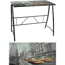 ts-ideen - Escritorio Mesa de café para ordenador metal y cristal, negro con imagen de taxi Nueva York