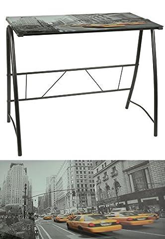 Bureau design NEW YORK TAXI 6mm noir table en verre table de bureau table d'ordinateur