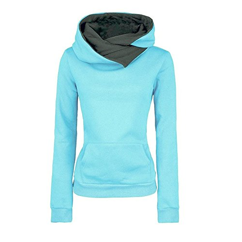 VECDY Damen Pullover,Räumungsverkauf- Herbst Frauen Langarm Hoodie Sweatshirt Pullover mit Kapuze Baumwollmantel Pullover Lässige hohe Kragen warmen Pullover Hoodie(Blau,38)