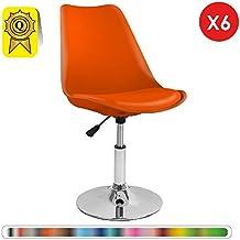 Decopresto 6 X Chaise Inspiration Tulipe Pivotante Reglable Pieds INOX Chrome Siege Coussin Orange DP