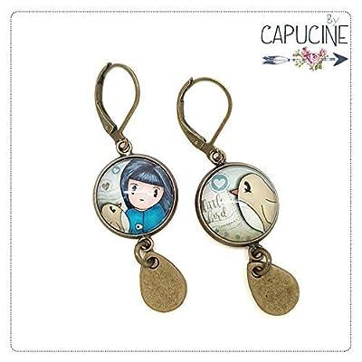 Boucles d'oreilles pendantes avec cabochons fillette et oiseau - boucles d'oreilles thème fillette - Little Bird - Idée cadeau