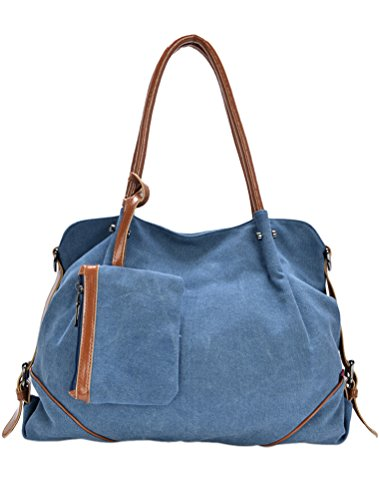 MatchLife da donna Borsa di tela spalla borsa 3Pezzi Set con piccola borsa e borsellino, Cameo (marrone) - CLSL0213-Cameo Blue