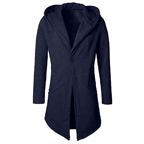ZIYOU Herren Kapuze Mantel, Herbst Winter Strickjacke Lang Slim Fit Trenchcoat Männer Cardigan Parka Jacket Outwear (Blau,EU-50 / CN-2XL)