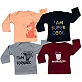 Piku Store Kid's Full Sleeves Peach, Navy, Maroon & Light Grey T-Shirts for Baby Girl and Baby Boy (Pack of 4)