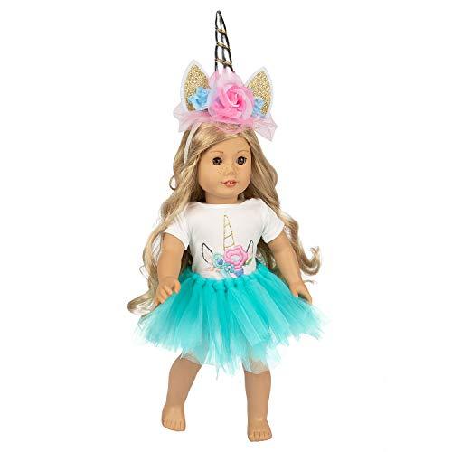 ZITA ELEMENT Puppe Einhorn Kleidung, Stirnband, Tutu für amerikanisches Mädchen Zubehör 1 Horn, 1 Onesies und 1 Tutu für 16