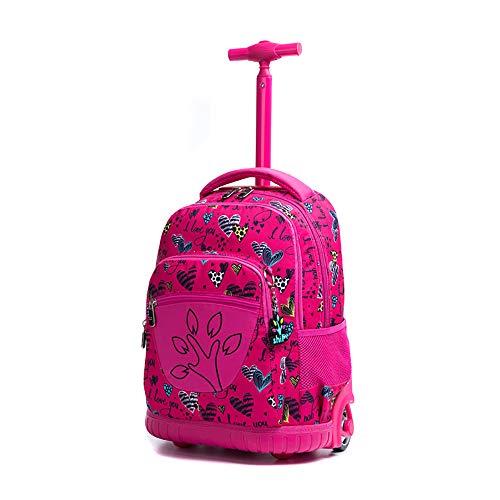 QCC& Jungen Mädchen Rollen Schulrucksack - Hohe Kapazität Draussen Reisen Trolley Schultasche Trolleytragen Auf Gepäck,A