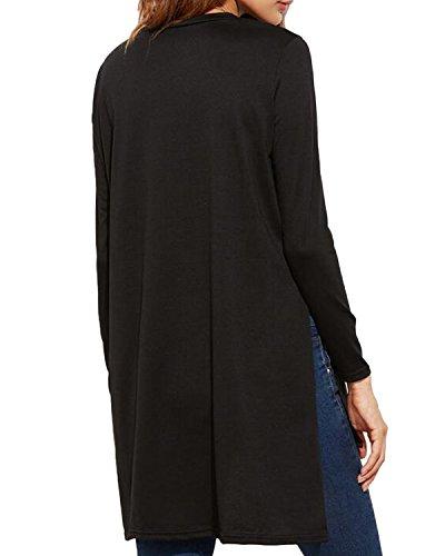Kidsform Tee Shirt Femme Manche Longue Asymétrique Uni Top Large Printemps Eté Noir