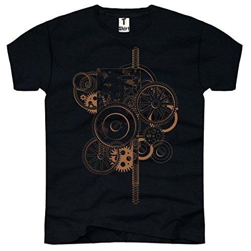 TEE-Shirt, Herren T-Shirt mit Aufdruck . Coole Motive. T-Shirt mit Zahnrad Druck. Motor Motiv. Größe XXXL,Schwarz