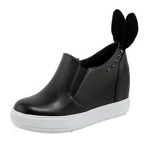 AgooLar Femme Matière Souple Rond à Talon Haut Tire Couleur Unie Chaussures Légeres Noir