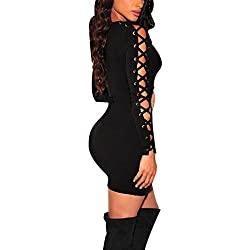 Long Sleeve Dress Women Long Sleeve Party Evening Mini Dress Bandage Short Dress (S, Black)