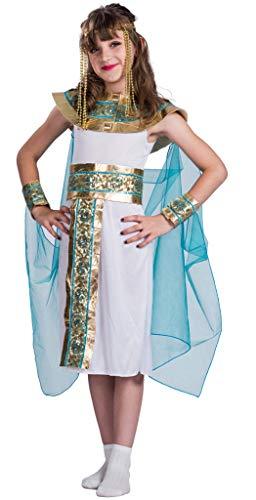 MOMBEBE COSLAND Mädchen Ägyptisch Königin Kostüm (Weiß, S)