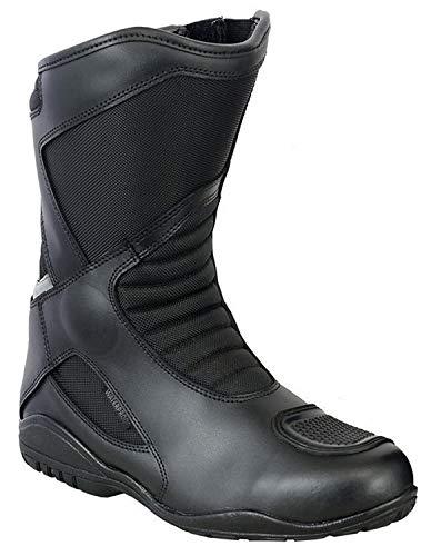 VASTER Scarpe da Moto in Pelle - Stivali da Motociclista, Stivali Corti alla Caviglia, Impermeabili, per Uomo e Ragazzo