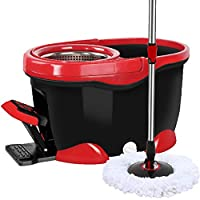 Axdwfd Rotating mop Hand pressure Automatic dehydration Metal basket Metal pedal Household Mop bucket, stainless steel Dish 4 mop heads Reddish black