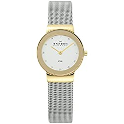 Skagen Ladies Watch 358SGSCD with Silver Stainless Steel Bracelet and gold case