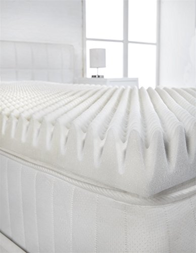 "Littens - 2"" Deep 4ft Small Double Bed Size Memory Foam Mattress Topper (Profile / Egg Shell) 50mm, 120cm x 190cm 2"