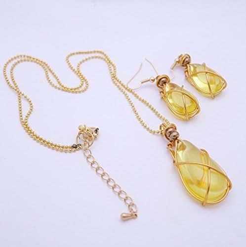Parure bijoux, ensemble collier et boucles d'oreilles, fiole dorée, style steampunk végétal