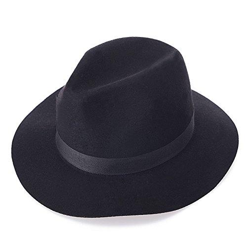 L'Europa e l'onda semplice ladies lana retrò bow Hat cappelli cappelli di feltro di pura lana sir britannico di colore solido Hat,Nero