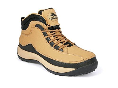 Forza lavoro in vera pelle leggero escursionismo stivali di sicurezza con punta in acciaio (disponibile in nero o marrone) Tan