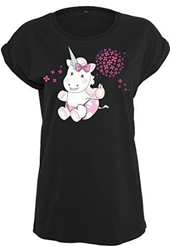Damen T-Shirt Ladies Extended Shoulder Tee Damenshirt Sommershirt Unicorn Einhorn cutie Pusteblume Schwarz