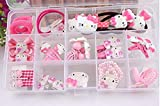 Wevery 15pieces Pink Hair Bows Clips for Girls Hello Kitty Ribbon Boutique Kids Hair Accessories for Babies Teens Kids Toddlers & Newborn