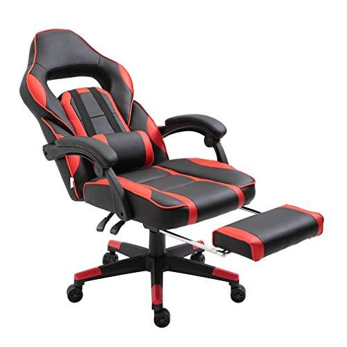 ALTERDJ Gaming Stuhl Computerstuhl Racing Gaming Chair Bürostuhl Schreibtischstühle 2 Kissen mit Gepolsterte Fußstütze, Kunstleder, Höhenverstellbar 79 x 70 x 110-119 cm, kippbar 180°, Rot