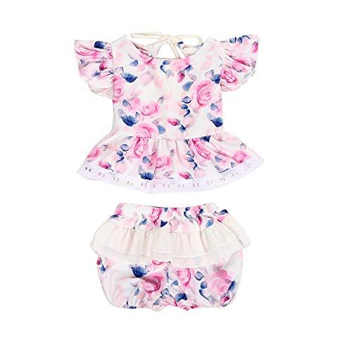 HaiQianXin 2 stücke Elegante Kinder Baby Mädchen Einteiliges Kleid Flauschige Blumen Kordelzug Kleid + Floral Shorts (Size : 0-3M)