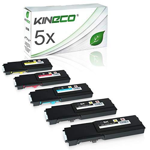 5 Toner kompatibel für Dell C2660DN, C2665DNF, C2600 Series - 593BBBM - Schwarz je 3.000 Seiten, Color je 4.000 Seiten