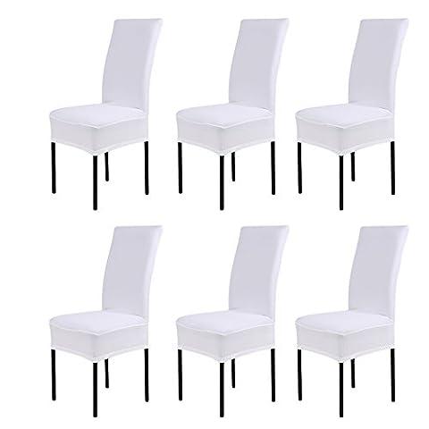 Sundautumn 6 x Housse de Chaise Universelle Extensible pour Décoration de Chaise Moderne (Blanc)